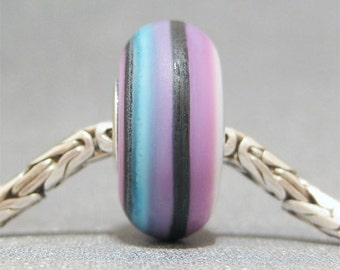 Purple & Black Handmade Stripe Lampwork Glass Bead Euro Bracelet Charm Pop Art II