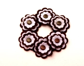 Brown and White Felt Flowers, Floral Embellishments, Card Making Supply, Hair Bow Supplies, Scrapbook Flowers, Set of 6