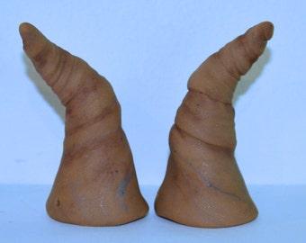 Old Brown Horns Polymer Clay Festival, Halloween, Troll, Devil, Ren Fair