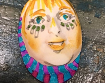Handmade clay face  queen oval purple jewelry craft supplies  handmade cabochon   faces   polymer