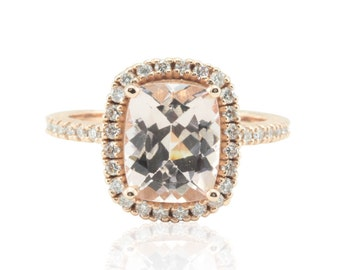 Rose Gold Morganite Ring - 8x10mm Rectangular Cushion cut Morganite Engagement Ring with Diamond Halo and 3/4 Eternity Shank - LS4717