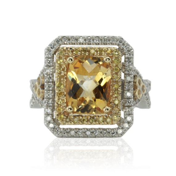 Birthstone Ring - Citrine, Yellow Sapphire, and Diamond Two Tone Ring with twisted shank - November Birthstone - LS274