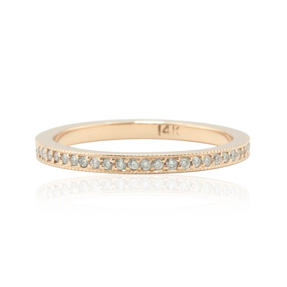 Diamond Wedding Band - 14k Rose Gold Ring with Pave set Genuine Diamonds and Milgrain - Almost Eternity Diamond Ring - LS1901