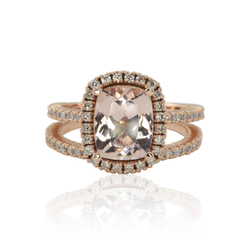 Morganite Engagement Ring 3 carat Engagement by LaurieSarahDesigns
