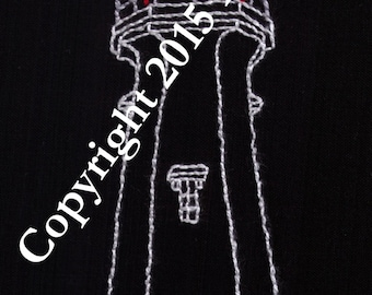 Lighthouse Hand Embroidery Pattern, Sea, PDF, Coast, Safety, Ship