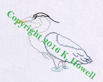 Blue Heron Hand Embroidery Pattern