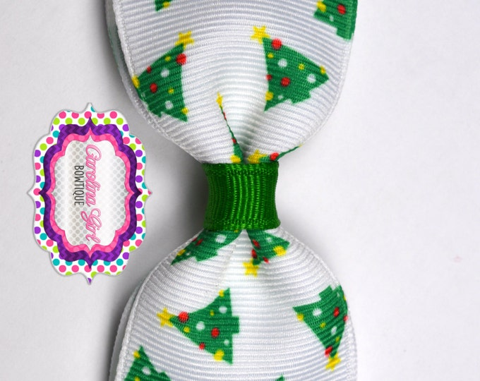 "Christmas Trees Tuxedo Bow ~ 3.5"" Hairbow ~ Small Hair Bow ~ Girls Barrette ~ Toddler Bow ~ Baby Hair Bow ~ Hair Clip ~ Girls Hair Bow"