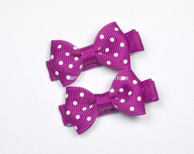 Mini Hair Bows ~ Festive Fuschia Dots Hair Bow Set of 2 Small Hairbows - Girls Bows - Clippies - Baby Hair Bows ~ No Slip Grip always added