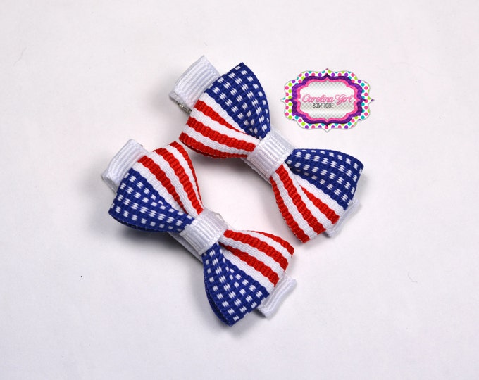 Patriotic Hair Bow Set of 2 Small Hairbows - Girls Hair Bows - Clippies - Baby Hair Bows - Mini Hair Bow Sets