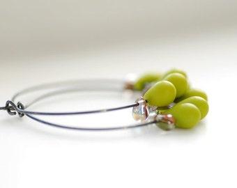 Silver Hoops, Sterling Silver Hoop Earrings, Green and Orange Glass Teardrops, Oxidized Silver
