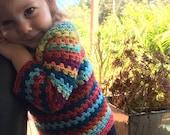 Bright Spirit Jumper - boho crochet hippy granny stripe toddler child pullover, jumper, festival wear