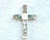 Cross Ornament, Shell Cross, Seashell Cross,Cross Wall Hanging, Abalone Crucifix, Coastal Beach Religious Gift, Christmas Decor