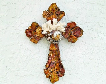 Shell Cross Copper Abalone, Seashell Crucifix, Cross with Shells,Coastal Cross Wall Hanging, Religious Christian Gift, Priest Minister gift