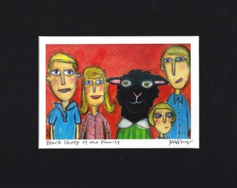 Black Sheep of the Family - Art Print, family portrait, funny art by Murphy Adams