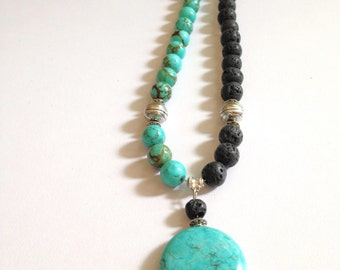 Turquoise Necklace Lava Beads Streling Silver Clasp
