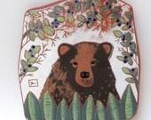RESERVED for ANNE till 7-24 bear on the trail hand carved ceramic art tile