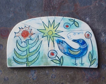 blue bird on a sunny day hand carved ceramic art tile
