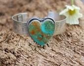 Rustic Chevron Heart Cuff in Sterling Silver statement bracelet, gypsy, cowgirl, boho, bohemian, handmade, metalwork