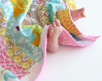 Patchwork Baby Girl Blanket, Halle Rose Patchwork Jelly Roll (2) Lovie with Minky