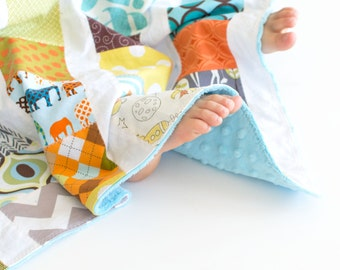 Baby Boy Scrappy Patchwork Blanket with Turquoise Minky
