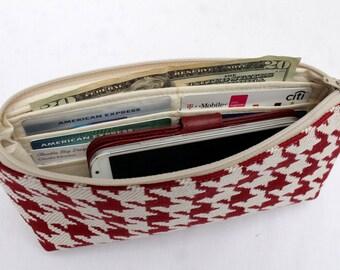 Zipper Pouch Clutch Wallet - Long Wallet - Cell Phone - Errand Runner - Evening Bag - Zip Fabric Wallet - Red Ivory Houndstooth