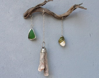 Beach Finds Installation - Driftwood, Seaglass, Coral, Shell  - Wall Hanging