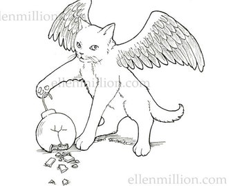 Winged Kitten Digi Stamp Digital Coloring Page - angel cat for Christmas cards or coloring