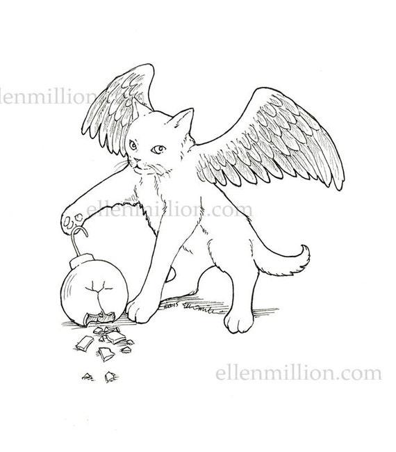 Winged Kitten Digi Stamp Digital Coloring Page