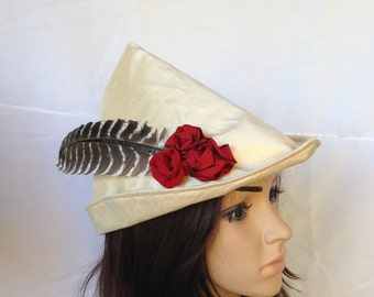 Rose Red Medieval Archer Women's Robin Hood Renaissance Faire Bycocket Hat