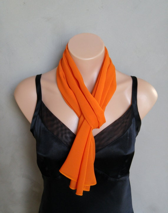 Orange Chiffon Scarf - Perfect Summer Skinny Scarf - 56 inches long by 12 inches wide