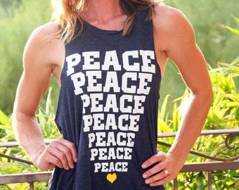 Backless Lounge Muscle Tank. PEACE Tank Top. Peace Shirt. Flowy Muscle Tank. Made in the USA. Workout Tank. Customizable Tank Top.