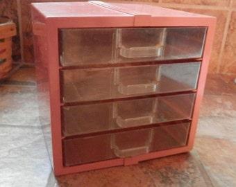 1950's -60's Small Storage/ Tool / Jewelry/ Sewing Box in Orange Plastic