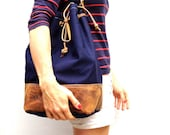 NEW - Large canvas // leather bucket bag in navy