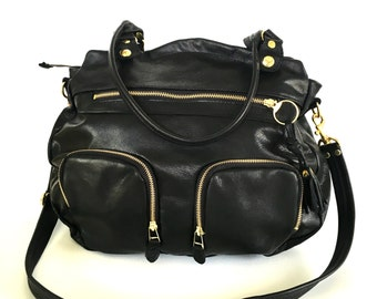 Large Shikotsou bag in black leather