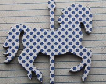 6 Carousel HORSE polka dot  navy and white chipboard covered die cuts 4 inches  x 3 3/8 inches set [6CB]