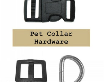 "20 SETS - 3/4"" - Dog Collar Kits, 3/4 inch, Wide Mouth, 60 Pieces - BLACK or WHITE"