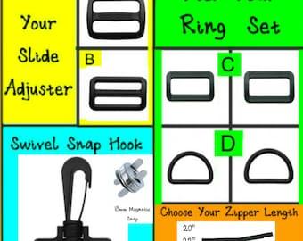 "1 SET - 1 1/2"" - Plastic Handbag Purse Hardware Kit - 7 PIECE KIT - For use with 1 1/2"" webbing"