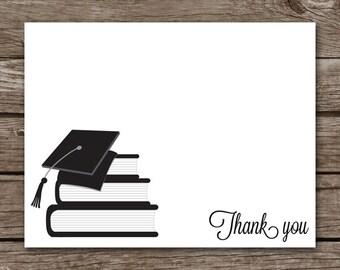 Graduation Thank You Cards - Books - High School - College - Graduate - Set of 8