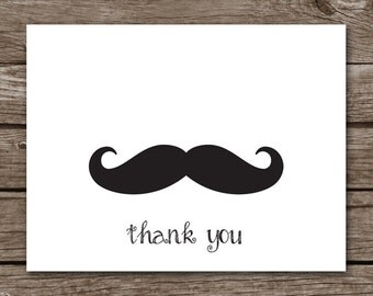 PRINTABLE Moustache Note Cards, Mustache Note Cards, Moustache Cards, Moustache Thank You, Mustache Thank You