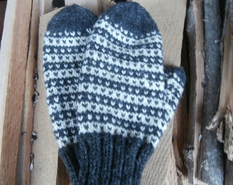 New England wool hand knit mittens in charcoal and cream