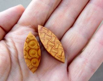 Pair of Marquise Shaped Gold Mica Shift Polymer Clay Double Sided Fimo Beads