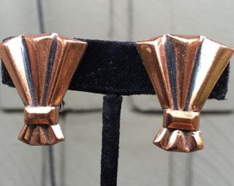 Vintage Copper Clip on Earrings