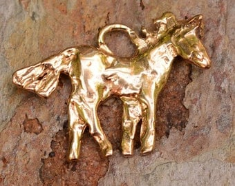 Artisan Horse Charm in Gold Bronze, Rustic Pony