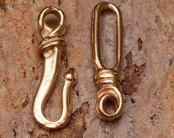 Rustic Hook and Eye Clasp Set in Gold Bronze AP13