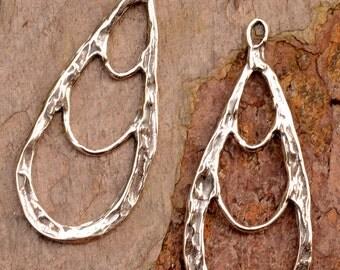 Rustic Teardrop Earring Dangles in Sterling Silver, E-376