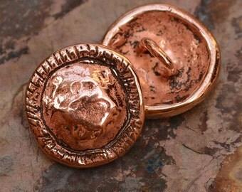 Copper Bronze Button Clasp, Artisan Rustic Button, 91d