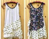 Custom Country Sun Dress - Boho Ruffled Summer Dress - Women's handmade Dress, vintage sheets, fabric and trim, floral prints, sundress