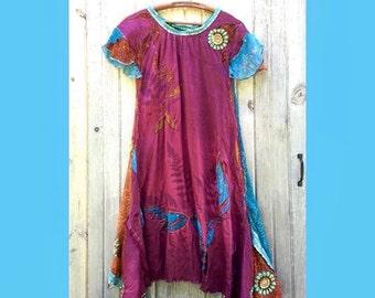 Ancestor Dress #9 - Long Dress Size Small, Organic linen/silk, vintage sari, OOAK, fine art women's dress by Dawn Patel Art fiber art
