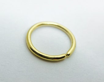 18k Solid Gold Cartilage Hoop 8mm 18ga Recycled Sustainable Ethical