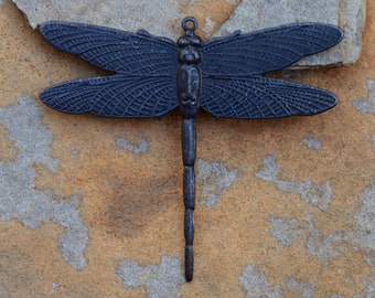 1 Matte Black Large Dragonfly Pendant 49mm x 43mm Trinity Brass